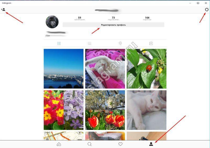 Просмотр своего профиля в Instagram на Windows 10